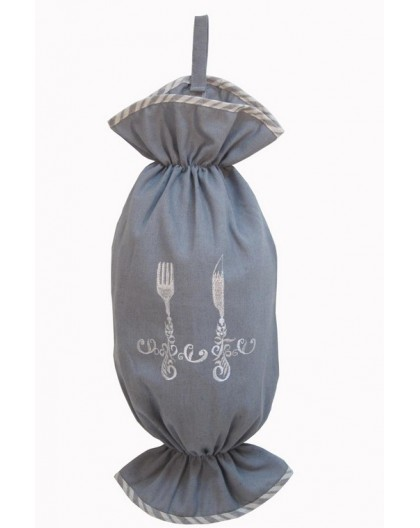Portaposate in Stoffa Grigia con Ricamo e Bordo a Righe 25X50 cm