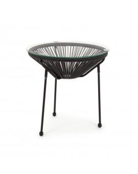 Tavolo rotondo in acciaio Ø50 cm con corde di fibra sintetica nera ideale per giardino