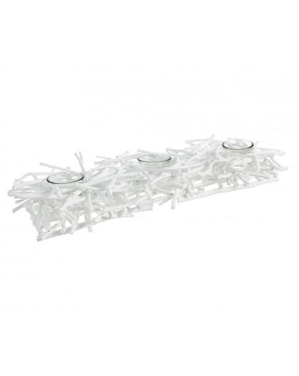 Porta candela 3 piani tea tree rettangolare bianco