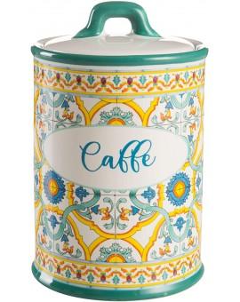 Montemaggi Barattolo Caffe' in Ceramica Con Tappo Ermetico Decoro Maioliche 10.5X10.5X17cm