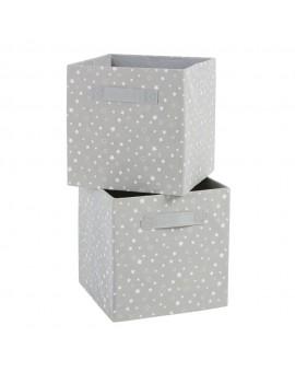 Cassette portatutto grigie stampa stelle bianche (x2)